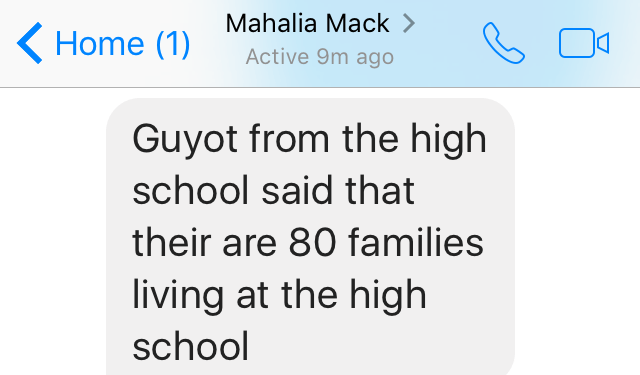Mahalia 80 families living at the high school